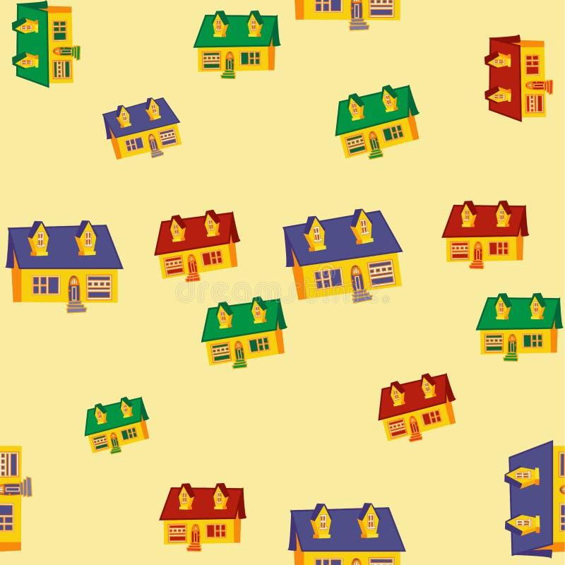 Nahtloses Muster mit Häusern Flaches Design stockbild