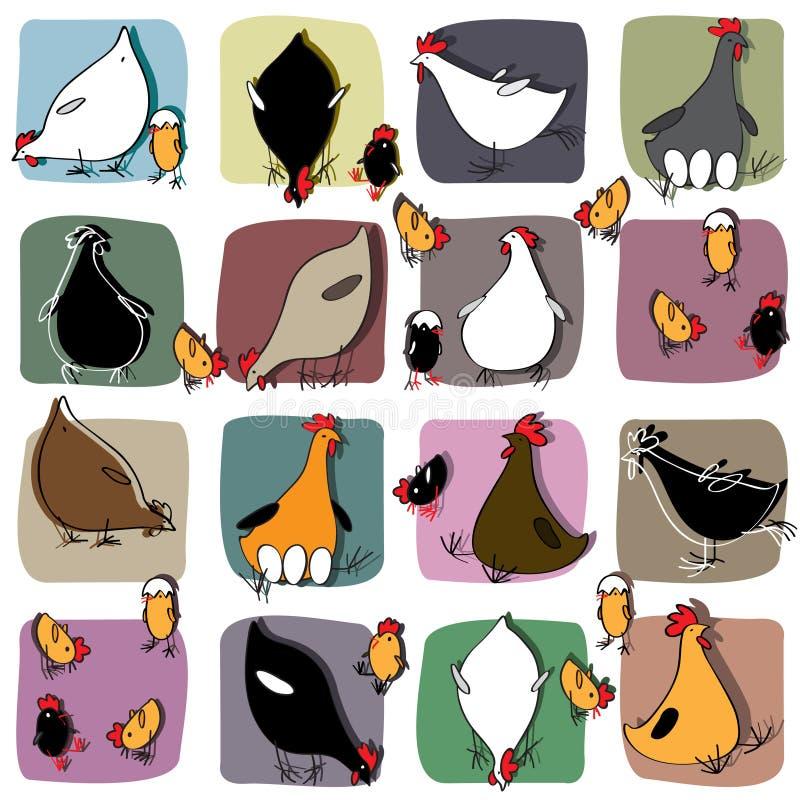 Nahtloses Muster mit Hühnern und Küken vektor abbildung