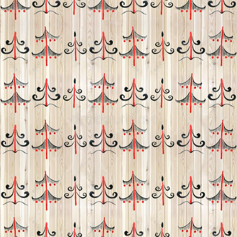 Nahtloses Muster mit Hand gezeichnetem Aquarell-Weihnachtsbaum auf abgestreiftem Hintergrund für Ihr Feiertags-Design lizenzfreie abbildung