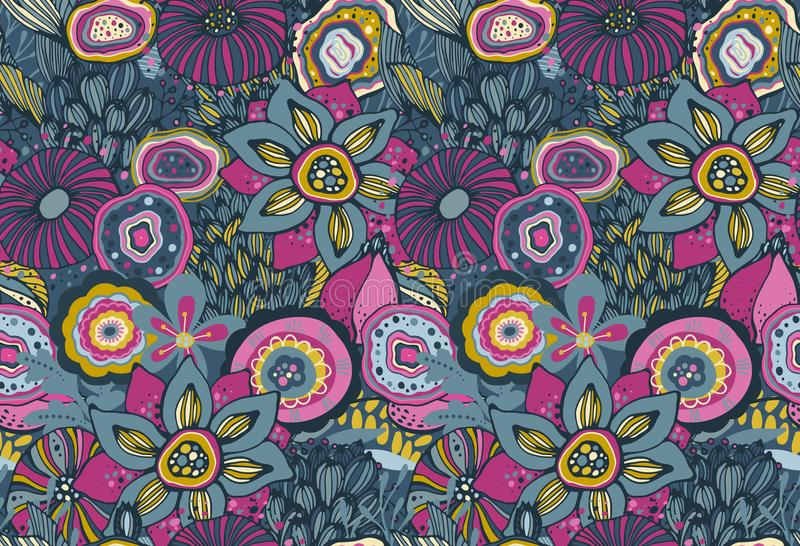 Nahtloses Muster mit Hand gezeichnetem Blumenphantasiemotiv lizenzfreie abbildung