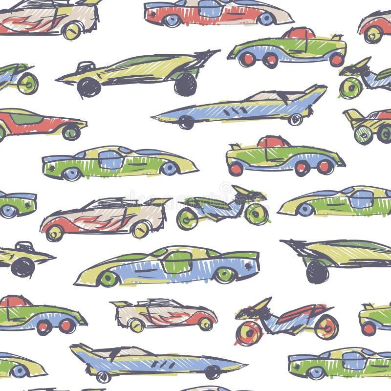 Nahtloses Muster mit Hand gezeichnetem nettem Auto Karikaturauto-Vektorillustration Vervollkommnen Sie für Kindergewebe, Gewebe,  vektor abbildung