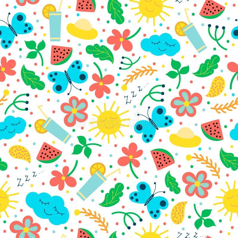 Nahtloses Muster mit Hand gezeichneten Gegenständen: Sonne, Wolke, Blumen, Blätter, Cocktail, Schmetterling lizenzfreie abbildung