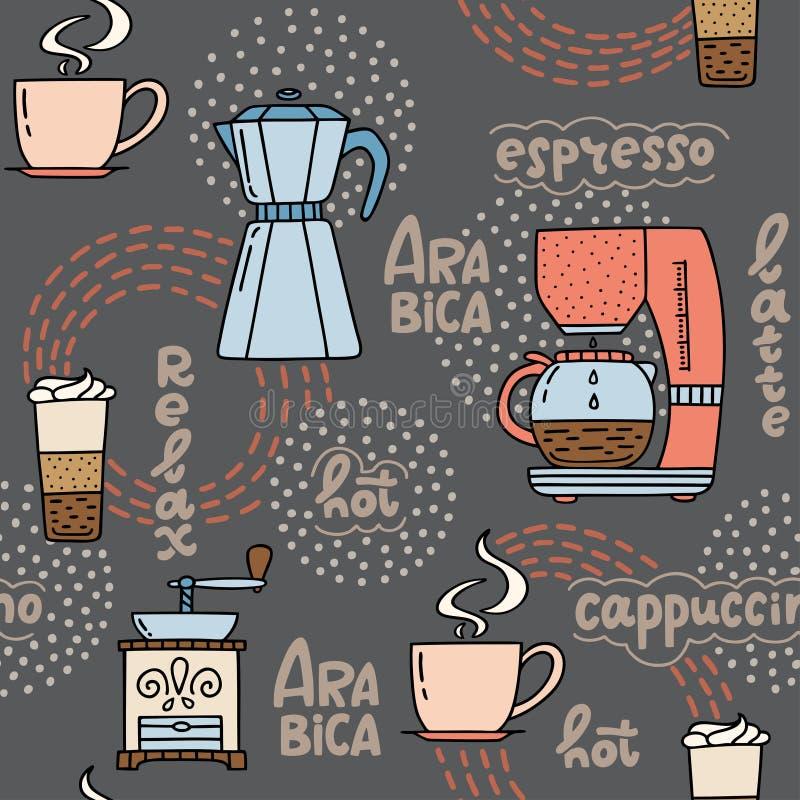 Nahtloses Muster mit Hand gezeichneten Kaffeezeit Symbolen und handwri lizenzfreie abbildung