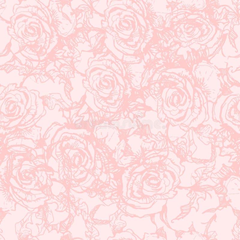 Nahtloses Muster mit Hand gezeichneten Rosen. stock abbildung