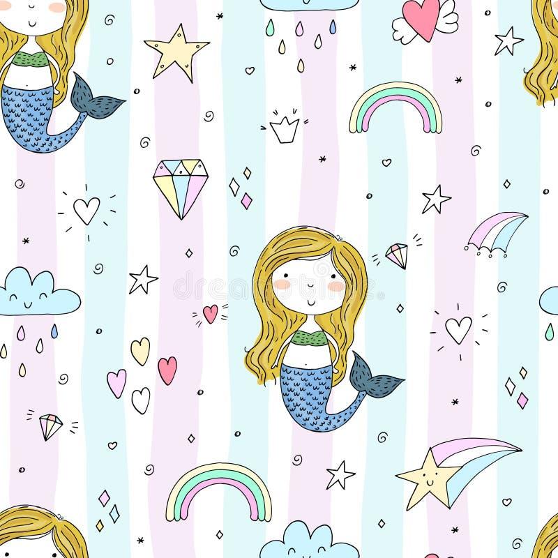 Nahtloses Muster mit Hand gezeichneter kleiner Meerjungfrau des Vektors lizenzfreie abbildung