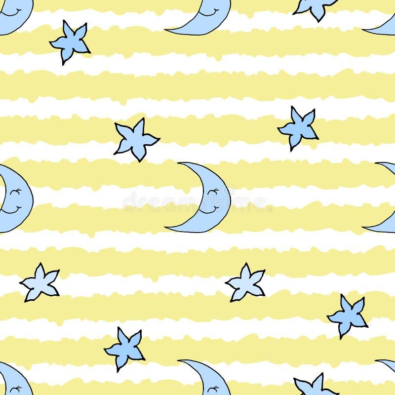 Nahtloses Muster mit Handgezogenem Mond, Sternen und gelben Streifen Auch im corel abgehobenen Betrag EPS10 lizenzfreie abbildung