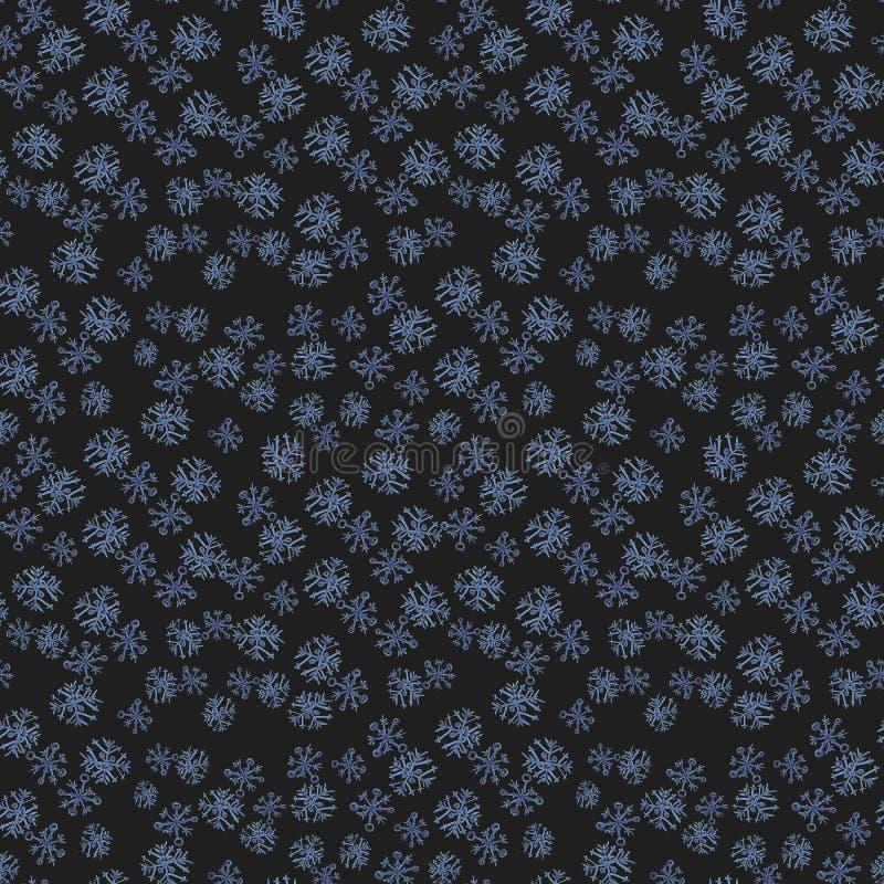 Nahtloses Muster mit Handgezogenen Gekritzel-Aquarellschneeflocken Winter- und Weihnachtsmuster auf schwarzem Hintergrund lizenzfreies stockbild