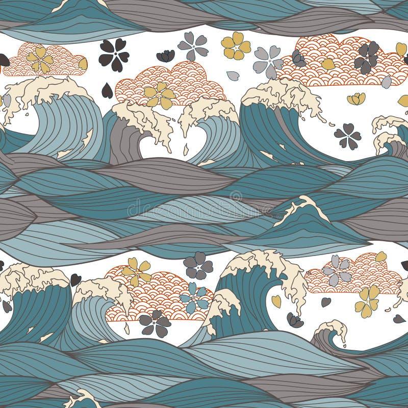Nahtloses Muster mit Handgezogenen stilisierten Meereswellen, japanische Kirschblüte-Blumen Auch im corel abgehobenen Betrag lizenzfreie stockbilder