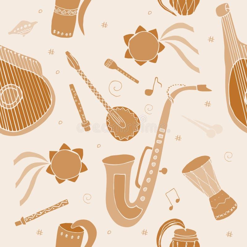 Nahtloses Muster mit Handgezogenen traditionellen slawischen, ukrainischen Musikinstrumenten lizenzfreie abbildung