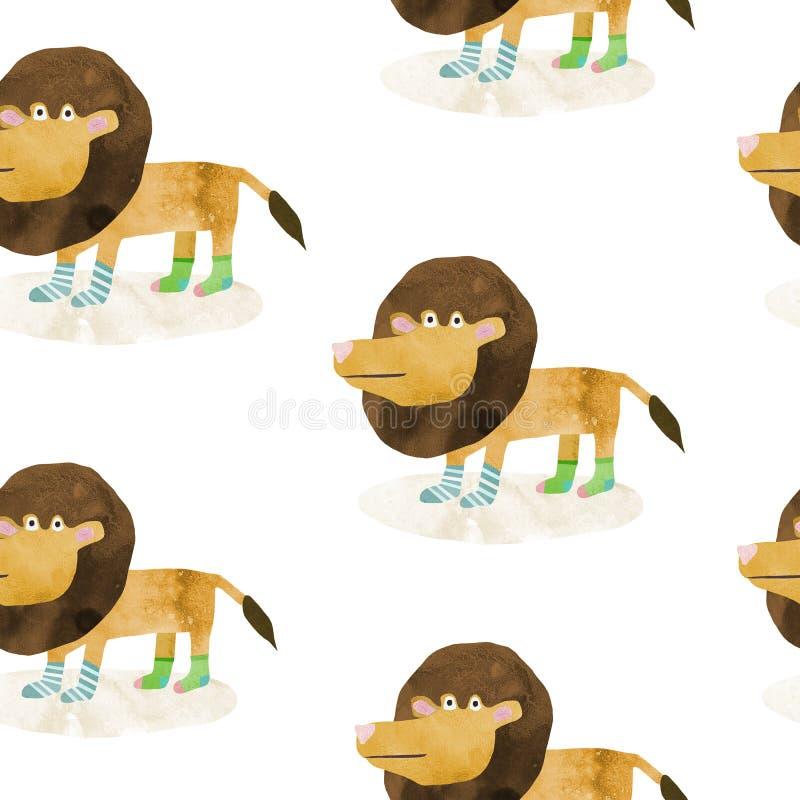 Nahtloses Muster mit Handgezogener Illustration eines netten Löwes in den Socken vektor abbildung