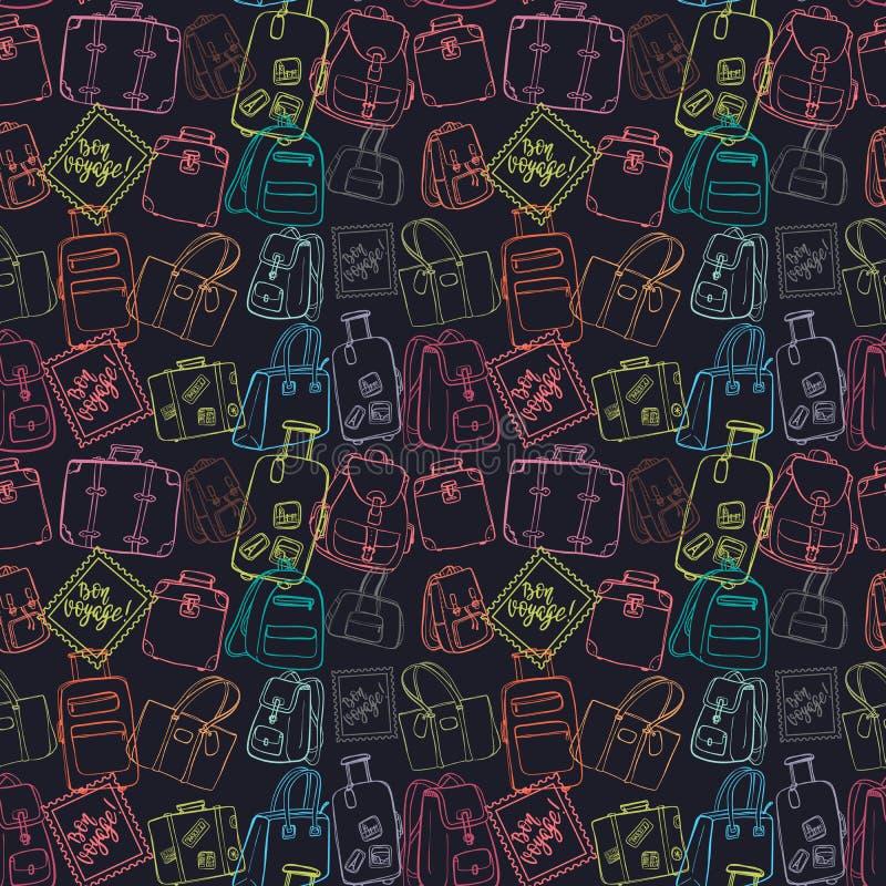 Nahtloses Muster mit Handzeichnungsgepäck stock abbildung