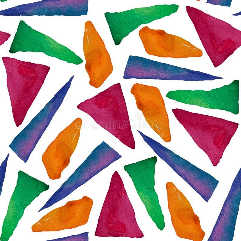 Nahtloses Muster mit hellen abstrakten Aquarelldreiecken lizenzfreie abbildung