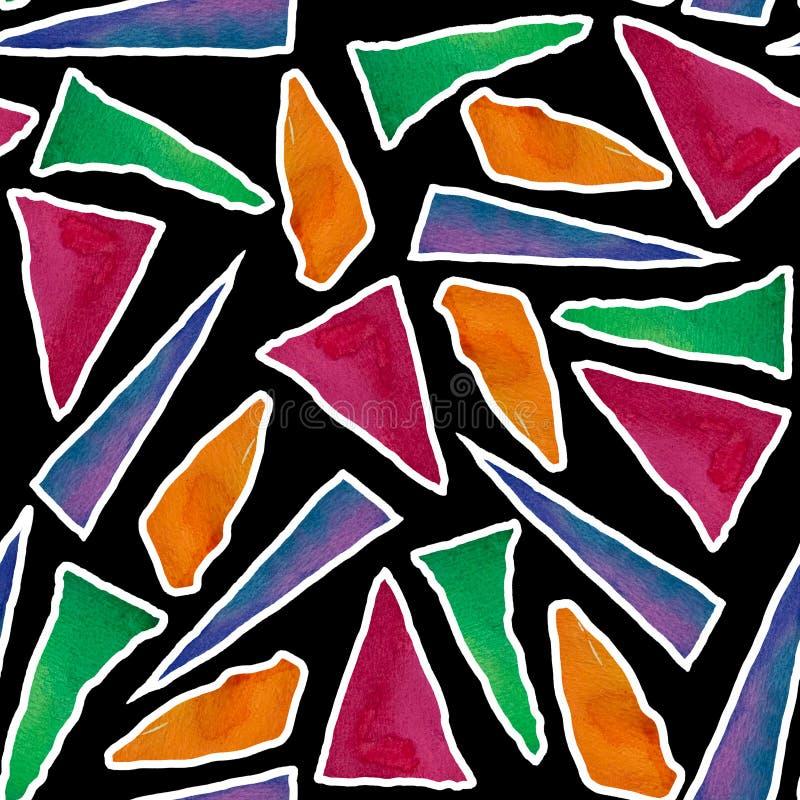Nahtloses Muster mit hellen abstrakten Aquarelldreiecken stock abbildung