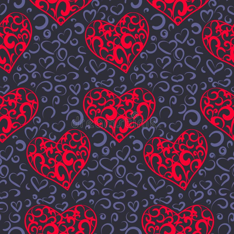 Nahtloses Muster mit hellen dekorativen Herzen auf einem dunklen Hintergrund lizenzfreie abbildung