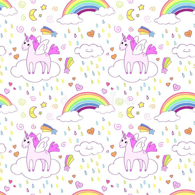 Nahtloses Muster mit hellen netten Einhörnern und Regenbogen stock abbildung