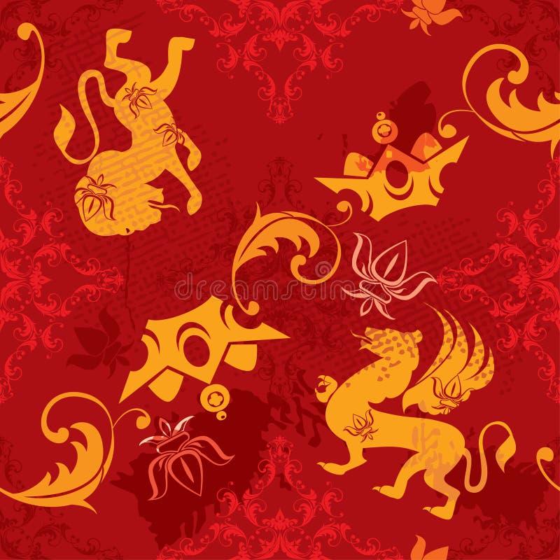Nahtloses Muster mit heraldischen Elementen der Weinlese lizenzfreie abbildung