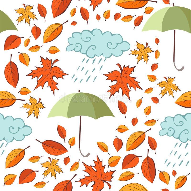 Nahtloses Muster mit Herbstlaub, Regenschirmen und Wolken stock abbildung