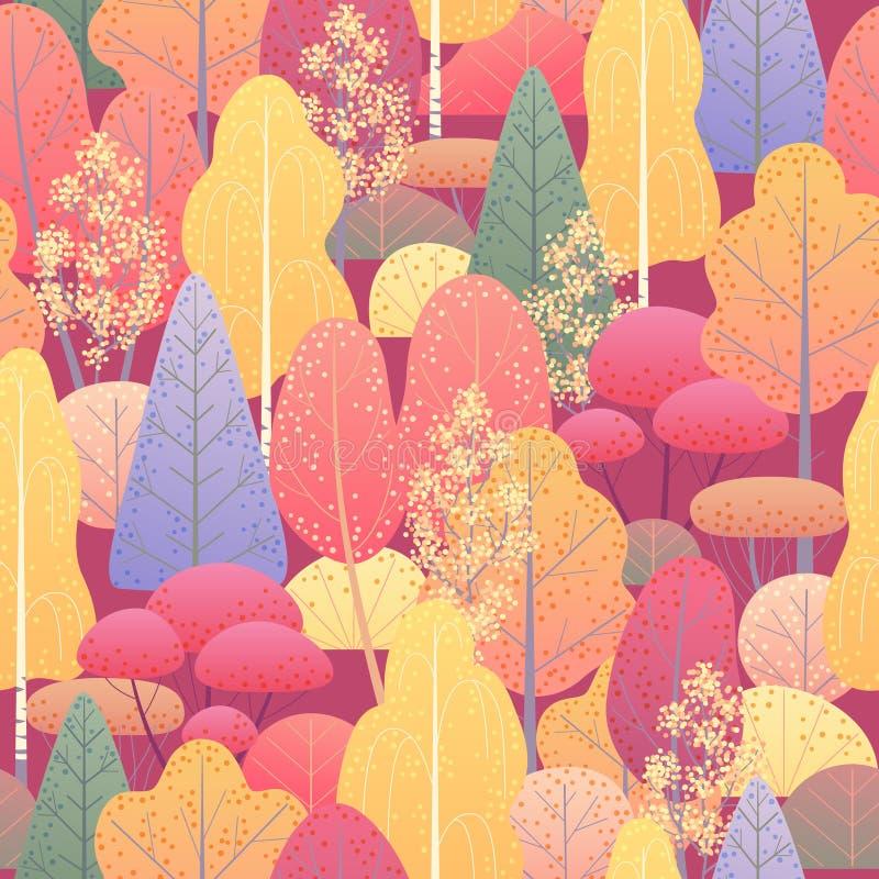 Nahtloses Muster mit Herbstwald lizenzfreie abbildung