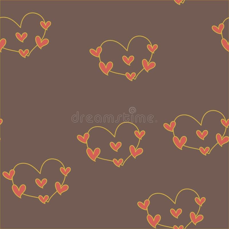 Nahtloses Muster mit Herzen für Valentine Day Vektor vektor abbildung