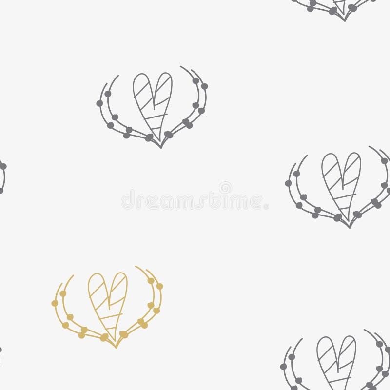 Nahtloses Muster mit Herzen für Valentine Day Vektor stock abbildung