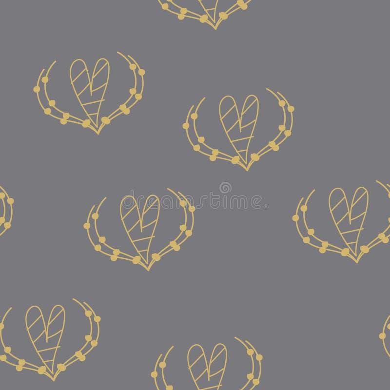 Nahtloses Muster mit Herzen für Valentine Day Vektor lizenzfreie abbildung