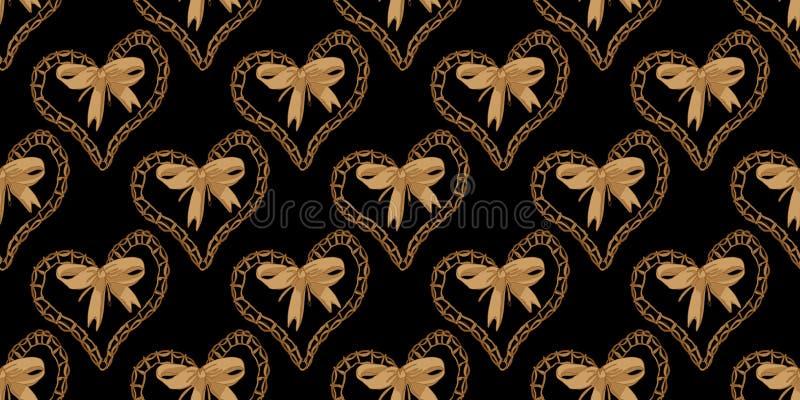 Nahtloses Muster mit Herzen und Bogen lizenzfreie abbildung