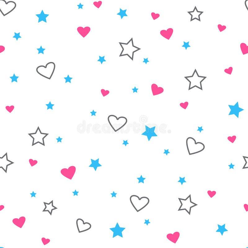 Nahtloses Muster mit Herzen und Sternen Auch im corel abgehobenen Betrag vektor abbildung