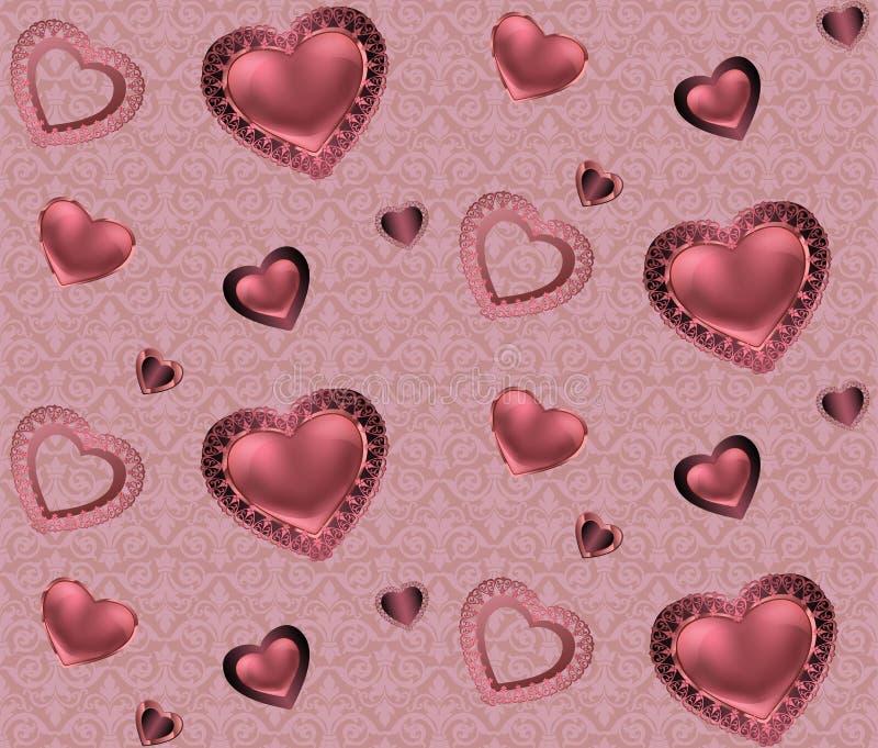 Nahtloses Muster mit Herzen und Verzierung auf einem rosa und roten Hintergrund mit romantischen Valentinsgrüßen der Blumen stock abbildung
