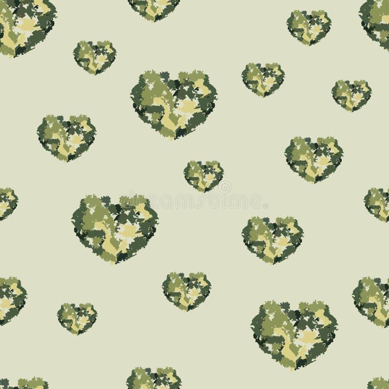 Nahtloses Muster mit Herzen von den Aquarellunschärfen lizenzfreie abbildung