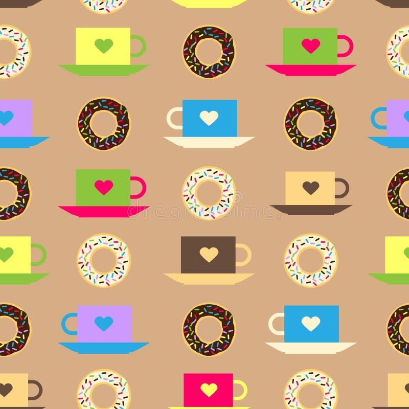 Nahtloses Muster mit Hintergrund des glasig-glänzenden Donuts des Kaffees und der Schokolade vector Beschaffenheitsdonut-Lebensmi vektor abbildung