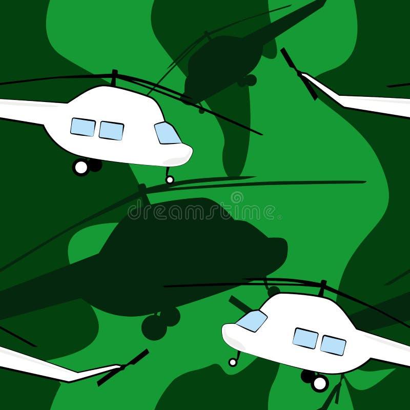Nahtloses Muster mit Hubschraubern lizenzfreie abbildung