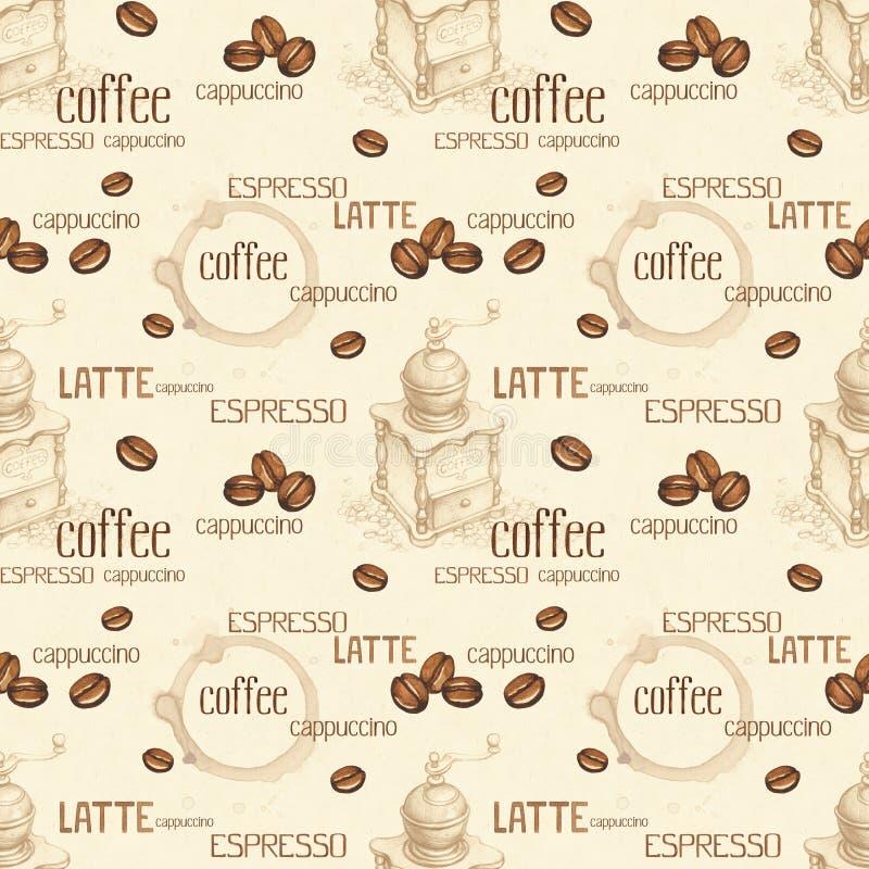 Nahtloses Muster mit Illustrationen von Kaffeebohnen vektor abbildung