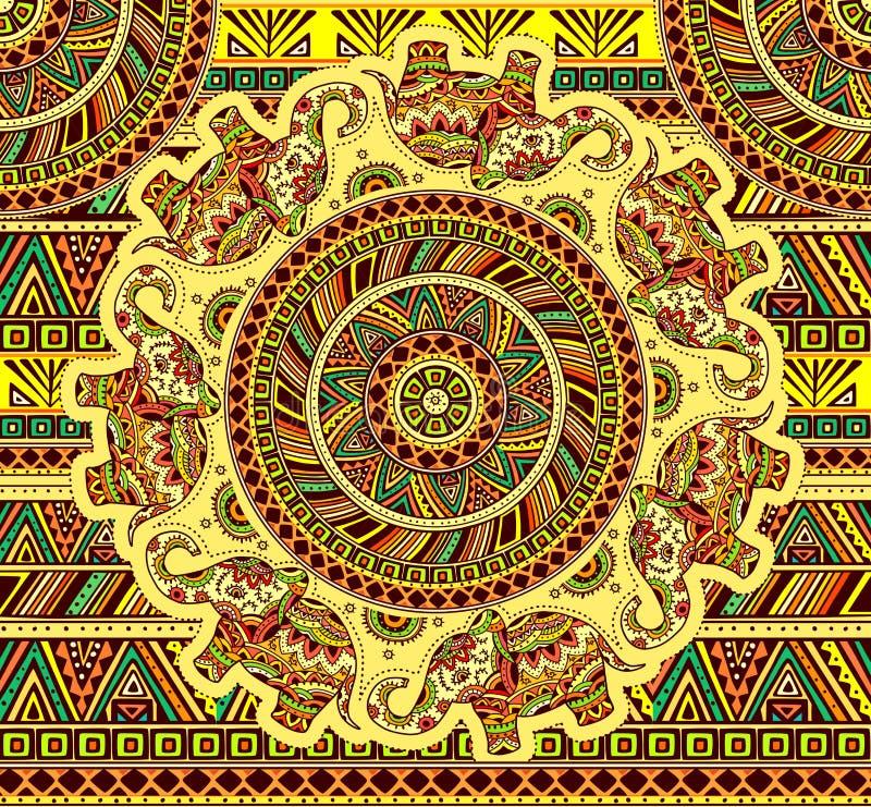 Nahtloses Muster mit indischem Elefanten und ethnischem Element stock abbildung
