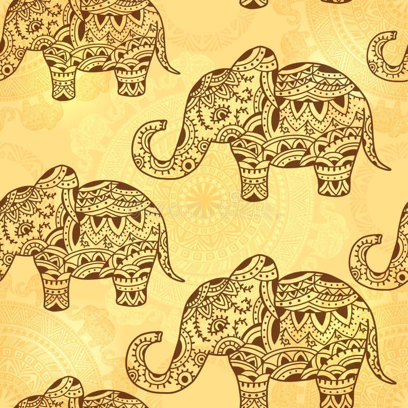 Nahtloses Muster mit indischem ethnischem Elefanten und Elementen lizenzfreie abbildung