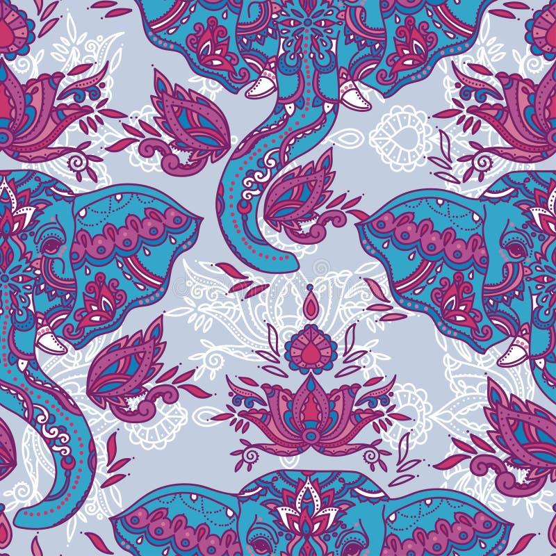 Nahtloses Muster mit indischen Elefanten und schöner Paisley-Verzierung vektor abbildung