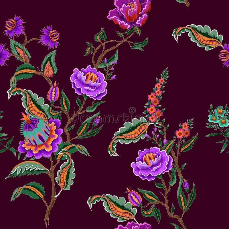 Nahtloses Muster mit indischen ethnischen Verzierungselementen Volksblumen und Blätter für Druck oder Stickerei Auch im corel abg stock abbildung