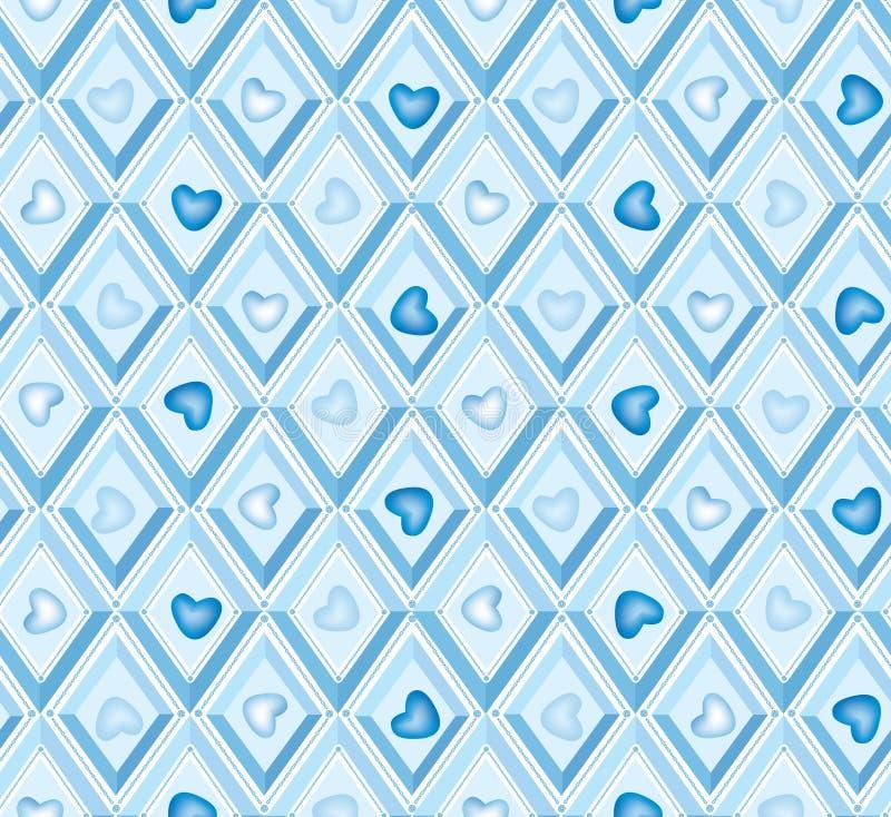 Nahtloses Muster mit Inneren und blauen Diamanten stock abbildung