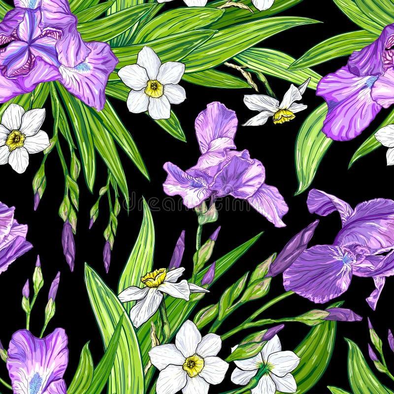 Download Nahtloses Muster Mit Iris- Und Narzissenblumen Vektor Abbildung - Illustration von druck, blüte: 106803379