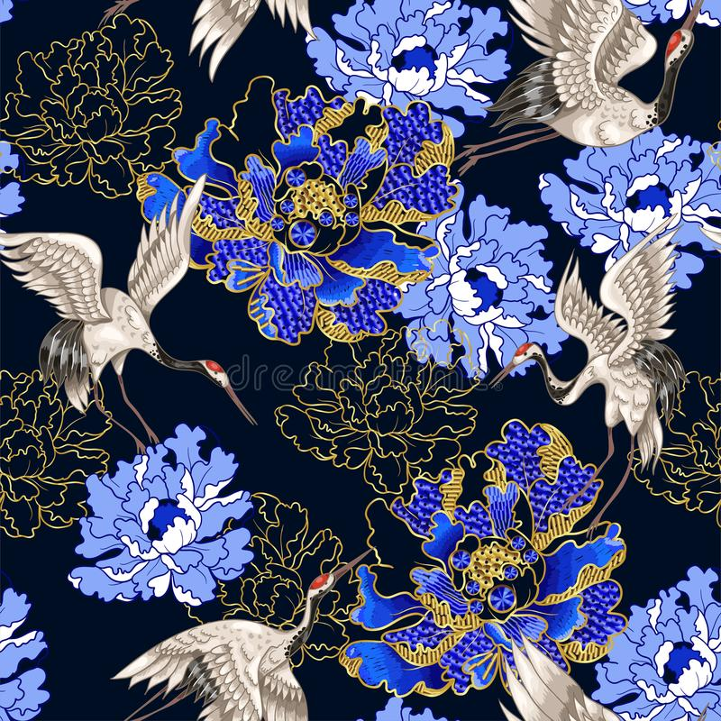 Nahtloses Muster mit japanischen weißen Kränen und Pfingstrose, gestickte Paillette lizenzfreie abbildung
