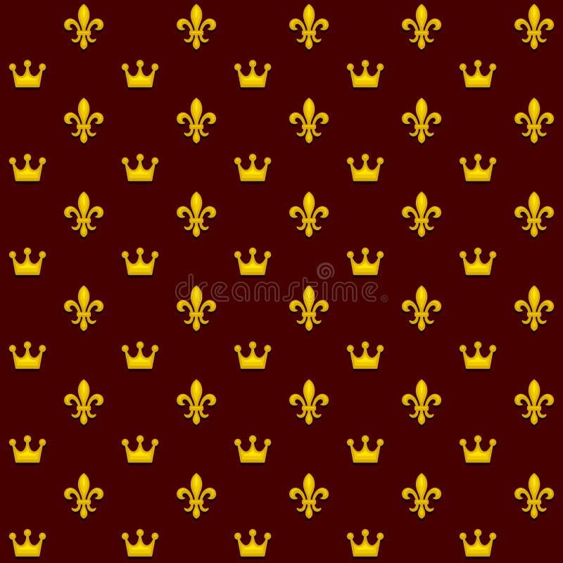 Nahtloses Muster mit König Crowns und königliche heraldische Fleur de Lys Lily auf dunklem Hintergrund Vektor stock abbildung