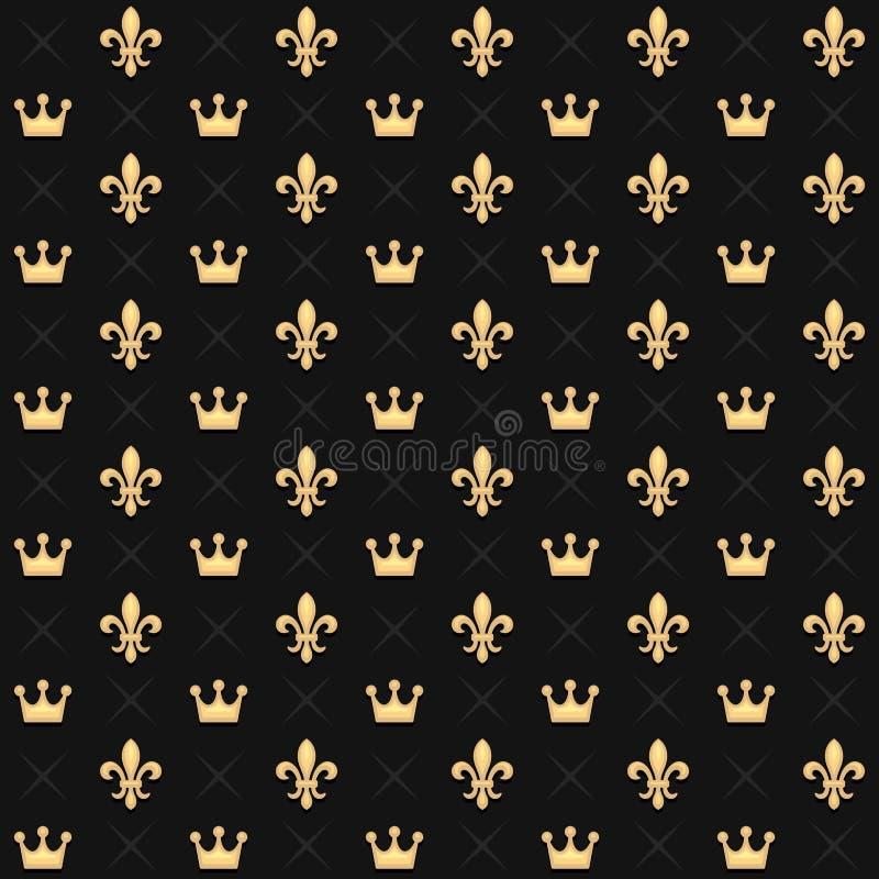 Nahtloses Muster mit König Crowns und königliche heraldische Fleur de Lys Lily auf dunklem Hintergrund Vektor vektor abbildung