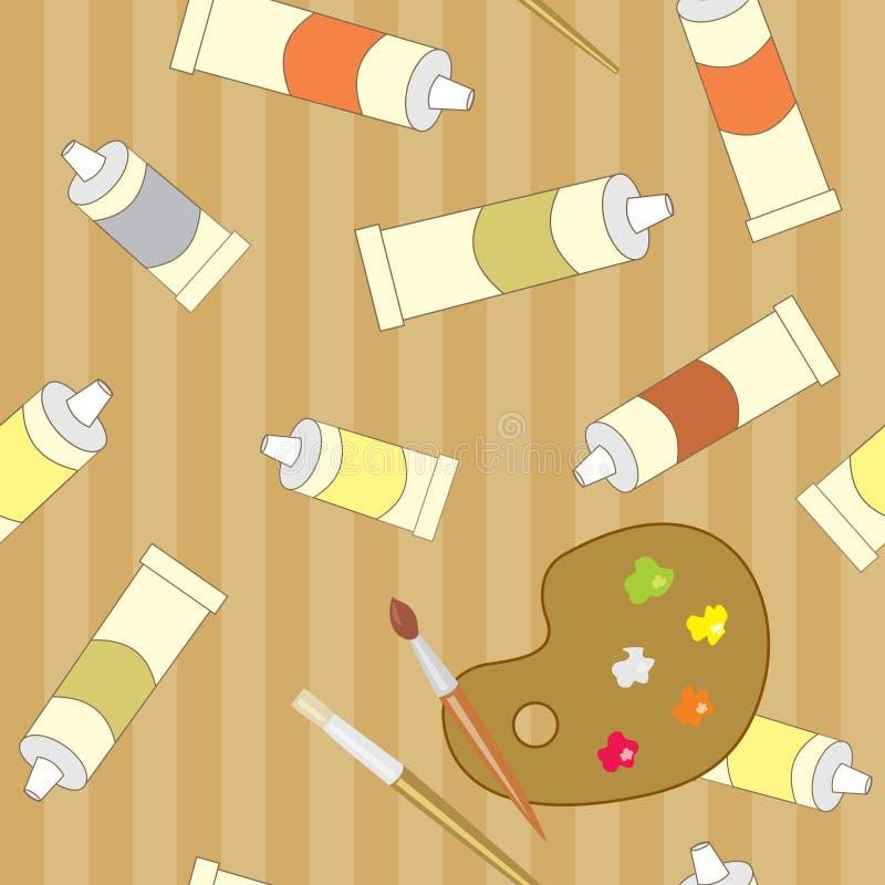 Nahtloses Muster mit künstlerischen Gegenständen auf braunem Hintergrund stock abbildung
