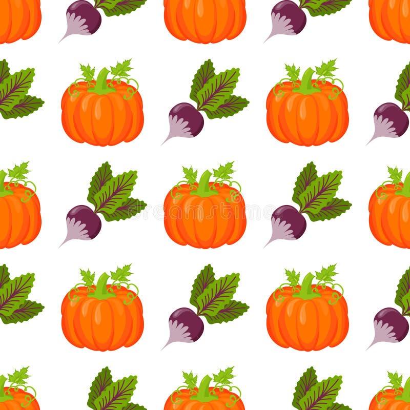 Nahtloses Muster mit Kürbisdanksagungsherbstdekorationsvektorillustrations-Gemüsehintergrund stock abbildung