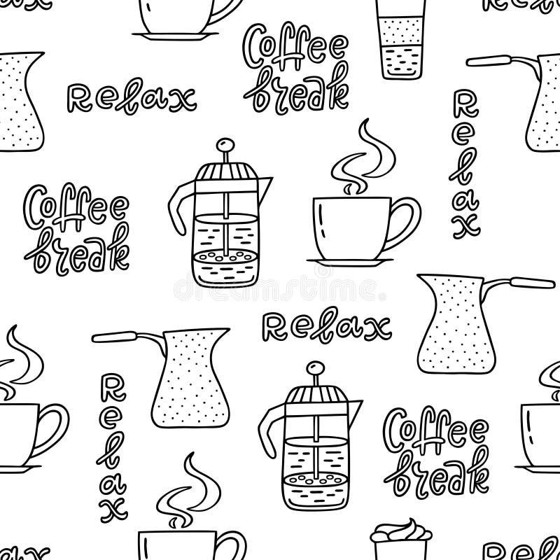 Nahtloses Muster mit Kaffeezeitsymbolen und handgeschriebener Phrase stock abbildung