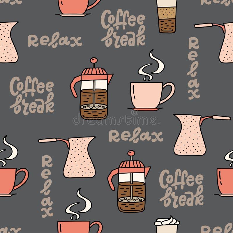 Nahtloses Muster mit Kaffeezeitsymbolen und handgeschriebener Phrase vektor abbildung