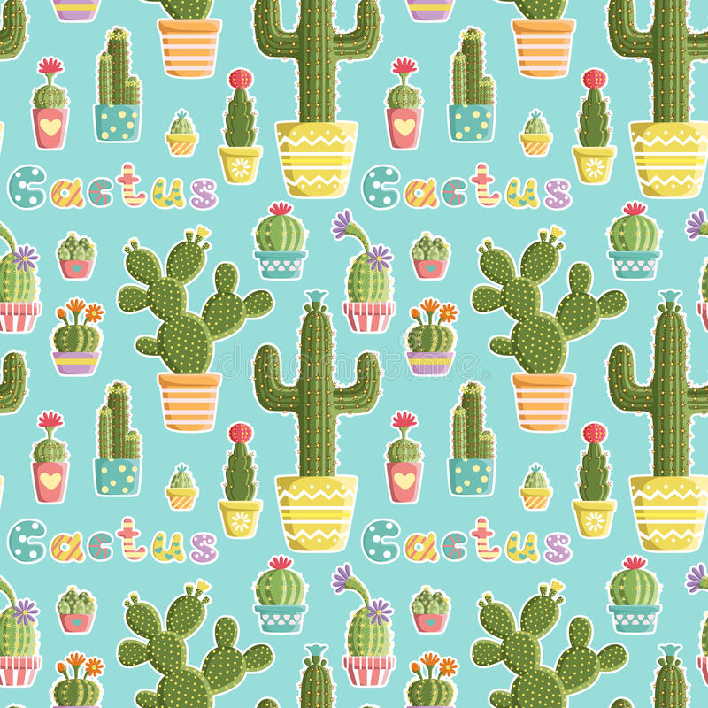 Nahtloses Muster mit Kakteen in den Töpfen verschiedenen Formen und Farben geschaffen in einem Spaß, nettes styl vektor abbildung