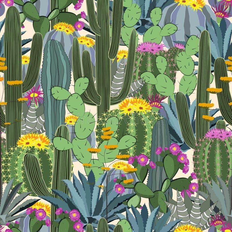 Nahtloses Muster mit Kaktus Wilder Kaktuswald lizenzfreie abbildung