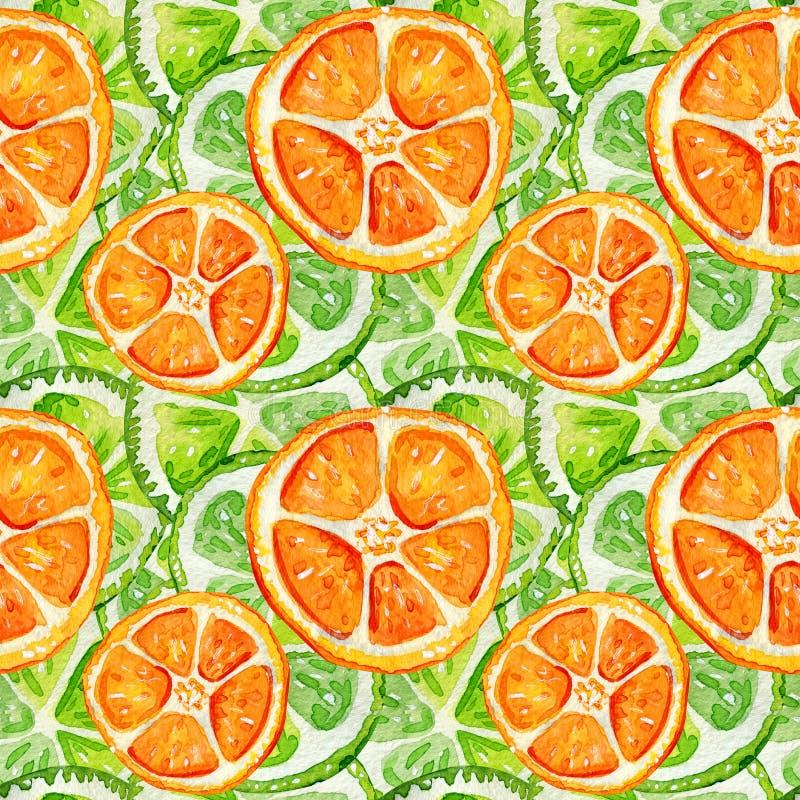Nahtloses Muster mit Kalk und Orange lizenzfreie abbildung