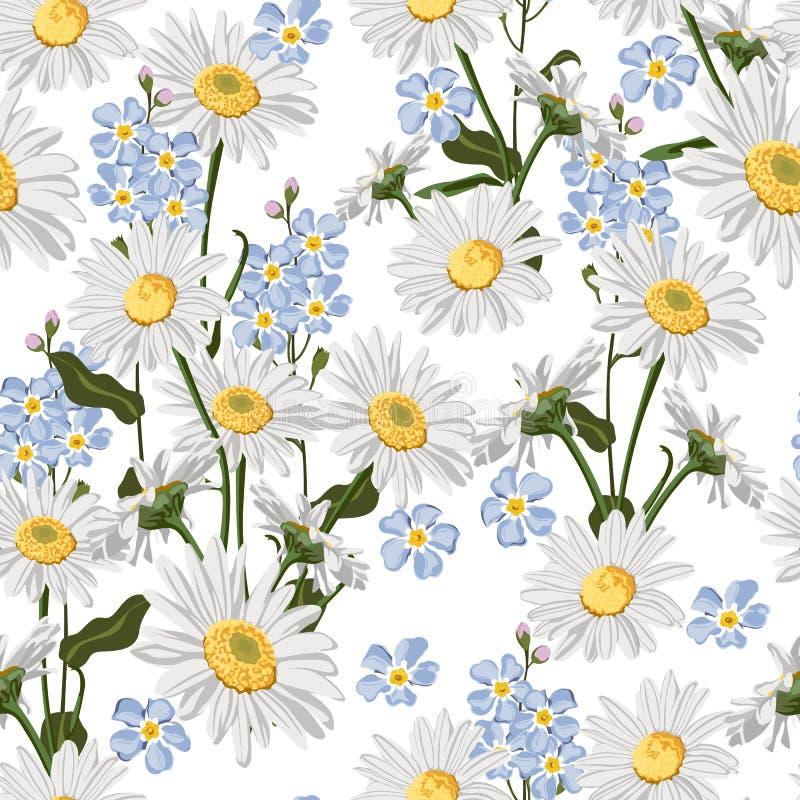 Nahtloses Muster mit Kamillen- und Vergissmeinnichtblumenpaaren vektor abbildung