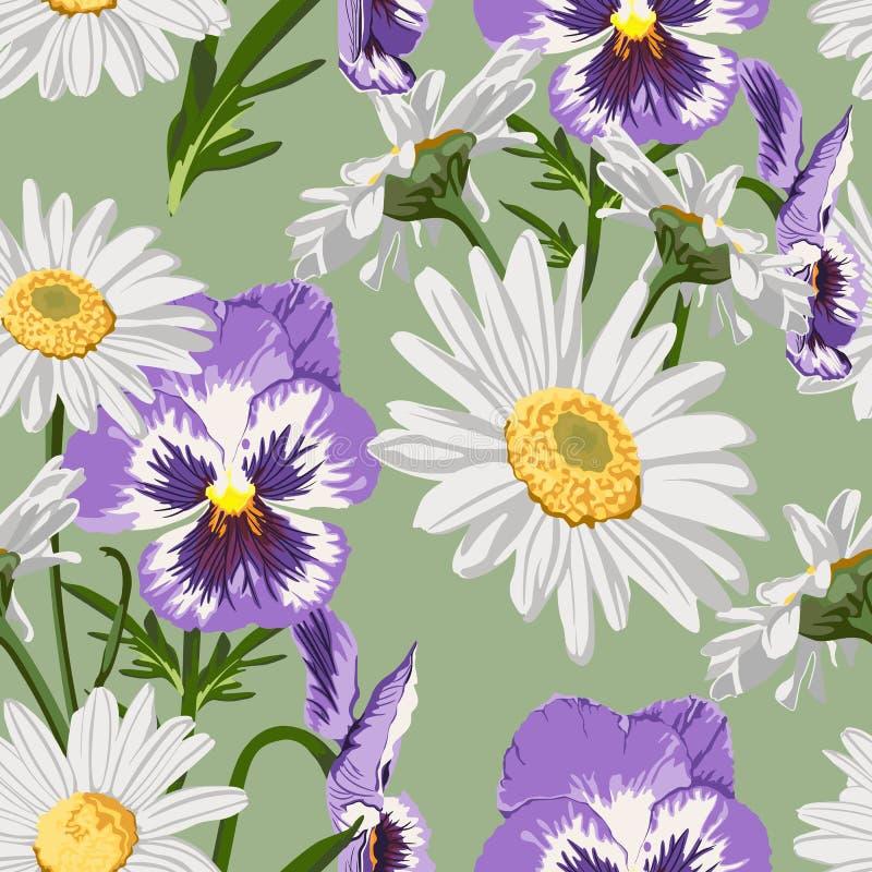 Nahtloses Muster mit Kamillen- und Violablumenpaaren stock abbildung